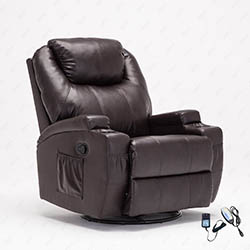 Leather Massage Recliner Chair 360 Degree Swivel Living Room Chair