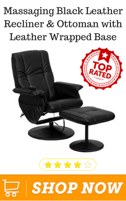 Massaging Black Leather Recliner & Ottoman with Leather Wrapped Base