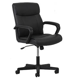 Leather Executive Office-Computer Chair - Ergonomic Swivel Chair, Black by Essentials