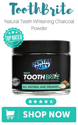 ToothBrite; Natural Teeth Whitening Charcoal Powder -Mint Flavour- Made with Organic Coconut Activated Charcoal and Bentonite Clay Formula for Stronger Healthy White Teeth by Dental Duty