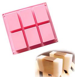 6 Cavities Rectangle Silicone Soap Molds by Ozera