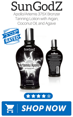 SunGodZ ApolloArtemis 375X Bronzer Tanning Lotion with Argan, Coconut Oil, and Agave